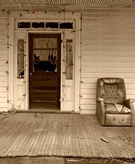 Lights of Christmas Past:  Garysburg, Northampton County, North Carolina (EdgecombePlanter) Tags: winter light snow cold texture abandoned rural nc chair moody shadows sad snowy empty south northcarolina southern porch plantation carolina antebellum recliner textured wintercolors oncehome
