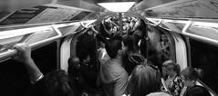 Sardines (Doug's Lumix) Tags: city uk england people urban bw london monochrome train underground subway mono metro britain tube gb urbex