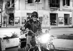 S. (Luigi Pietropaolo) Tags: street old portrait bw italy usa black guy beauty bike america vintage 50mm reflex italian aperture nikon exposure italia dof bokeh f14 bn harley eat oldfashion sicily tele shallow nikkor f18 davidson ritratto 1950 sicilia