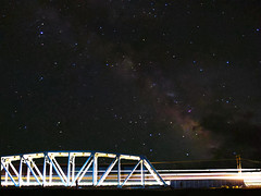 Afton Canyon Train and Milky Way (theeqwlzr) Tags: blackbackground night train stars nightlights outdoor astrophotography highdesert nightsky southerncalifornia outerspace mojavedesert milkyway mojaveriver canonrebelxti aftoncanyoncampground trestleataftoncanyon