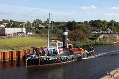 'Kerne' Sutton Weaver swing bridge 3rd October 2016 (John Eyres) Tags: kerne passing sutton weaver after small delay while problem with swing bridge was fixed the rusty piles river bank were installed 2015 for temporary which used overhauled 031016