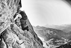 Zugspitze Klettersteig Above Ehrwald Austria (decineper) Tags: mountain climbing hiking zugspitze hllental hollental alps germany viaferrata klettersteig rock cliff staircase
