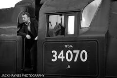 Contemplating Fireman (Jack Haynes Photography) Tags: swanage railway autumn steam gala 2016 dorset purbeck locomotive heritage 34070 manston