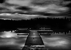 Stormy Weather (jeanmarie (been working lots of overtime)) Tags: jeanmarieshelton jeanmarie bw blackandwhite mono dark outdoors dock reflections clouds cloudy nikon nature light landscape water waterscape lake