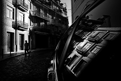 (ajhenriques) Tags: bw black white digital street minimal abstract light shadows human people silhouete lisbon lisboa contrast city walking blackandwhite monochrome hat portugal windows nikon d200 men architecture door car