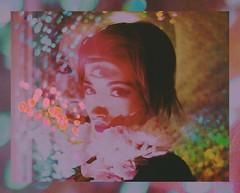 (emmakatka) Tags: rainbow emmakatka art photography technicolor kaleidoscope kaleidoscopic rainbows shadow glow woman portrait eyes thirdeye creepy eerie lips makeup iridescent fashion shine