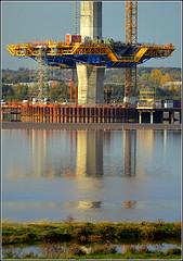 Mersey Gateway Project (Central Pylon) 21st October 2016 (Cassini2008) Tags: merseygatewayproject bridgeconstruction rivermersey cablestayedbridge rubricaengineering formtravellers construction rubricaformtravellers cofferdam