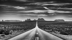 Towards Monument Valley (Xiao Chuan Zhang (Michael)) Tags: elitegalleryaoi bestcapturesaoi nikon d4 monochrome black white monument valley arizona highway 163