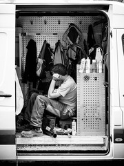 Well-earned rest (SibretManu) Tags: streetphotography portrait street black white bw candid going moments decisive moment creative commons flickr flickriver explore eyed eye scene strassenfotografie fotografie city square squareformat photography