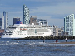 New Brighton and Liverpool Bay (shogunloverboy) Tags: newbrighton thewirral liverpoolbay rivermersey liverpool2 oceansunset seascape europa2liner seatruck liverpool wallaseyprom stenaline perchrock nikoncoolpixp900 steampacket seakat