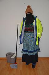 Slave Maid (Buses,Trains and Fetish) Tags: maid slave warm waitress fleece anorak winter niqab hijab burka chador girl boots apron sweat torture