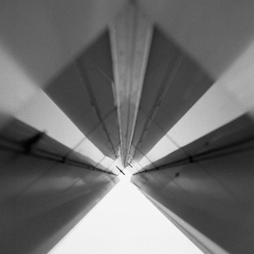 Abstract #analog #mediumformat #bw #blackandwhite #hasselblad #illford3200 #iso3200 #city #architecture #symmetry #lol