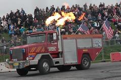 Santa Pod Flame & Thunder October 2016 (404) (Bristol Viewfinder) Tags: backdraft wheeliefiretruck ultimatemotorstunts pirelli monster trucks swampthing podzilla santapod