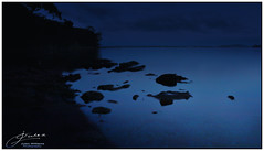 Sleeplessness (juliewilliams11) Tags: night photoborder water shoreline longexposure rocks cloud blue newsouthwales australia dark serene darkness
