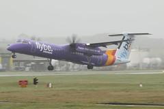 G-PRPE take off. (aitch tee) Tags: cardiffairport aircraft airliner flybe dhc8 gprpe takeoff cwlegff maesawyrcaerdydd walesuk