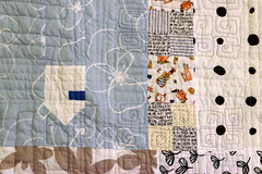 Old Ways quilt - detail (Lotje quilts) Tags: old ways quilt modern fmq low volume house patchwork piecing