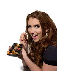 4_Trash (christinadc@ymail.com) Tags: woman food twix wrapper pasta banana stock yum yummy waste smiling paper orange trash gourmet chopsticks