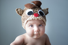Baby, It's Nearly Christmas (Shooting Ben) Tags: baby girl portrait child cute reindeer hat knitting crochet dressup christmas festive holiday natural window light