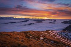 Remembrance (Brunzolini) Tags: sunset sonnenuntergang swiss switzerland alps alpine fog clouds colourful meadow alpen widderfeld pilatus nebelmeer snow schnee wolken bergkette bernese eiger nordwand berner oberland foothills first rickhubel feldalp