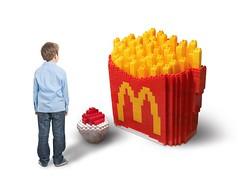 """Super Size Fries"" 2016 #megabloks #moc #food #fries #mcdonalds #sculpture (theworldinbricks) Tags: lego megabloks moc food fries mcdonalds sculpture"