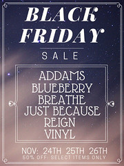Black Friday Sale! (Just BECAUSE_SL) Tags: sale 50 off jb just because sl second life black friday mainstore blueberry vinyl addams breathe reign