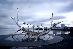 Solfar (lolamorena) Tags: sunset night row boat viking solfar reykjavik iceland cold winter oceanfront vacation travel sculpture art modern contemporary