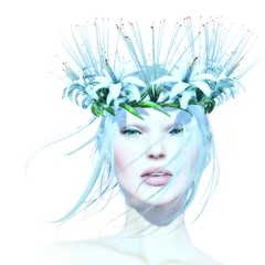 BA - Winter (~ ℬoudicca ~) Tags: avatar secondlife virtualworld maitreya 3d windlight firestormviewer digitalart digital lelutka tram portrait female white flowers euphoria laurahurley lode