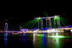 Marina Bay Light Show (Sarah Marston) Tags: singapore asia singaporeflyer lightshow marinabay marinabaysandshotel boats lighttrails sciencemuseum sony alpha a65 november 2016 helixbridge reflections