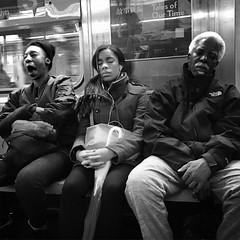 Passengers (ShelSerkin) Tags: shotoniphone7 hipstamatic iphone iphoneography squareformat mobilephotography streetphotography candid portrait street nyc newyork newyorkcity gothamist blackandwhite