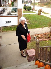 I Always Try To Look My Best When I Leave Home (Laurette Victoria) Tags: suit silver woman female lady milwaukee sidewalk laurette pencilskirt gloves