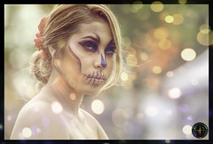 The Look (3 Reticles) Tags: sugar skull skulls rose eyes red blue cemetery skeleton painting woman lady sexy black hot colorful attractive artist art beautiful beauty costume colors exotic entertainer entertainment emotion eye eoshe eyelashes eyelash eyeliner hair sensual festival figure girl goddess light skin makeup model poses pose portrait warm sexual sexiness body bokeh nikon headshot head seductive naked nude breasts fashion bodypaint los angeles dia muertos day dead bodypainting flower neck semi breast people photo border fierce