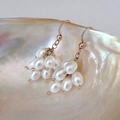 Pearl earrings on gold (KyreneD) Tags: handmade cluster earrings white pearl pearls goldfill 14ktgoldfill handcrafted cultured genuine bridal wedding bride