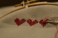 Macro Mondays - Redux 2016-My Favourite Theme Of The Year [In Explore - 161227] (annesjoberg) Tags: redux2016myfavoritethemeoftheyear hearts inarow stitch crossstitch red macromondays macro makro handmade handarbete
