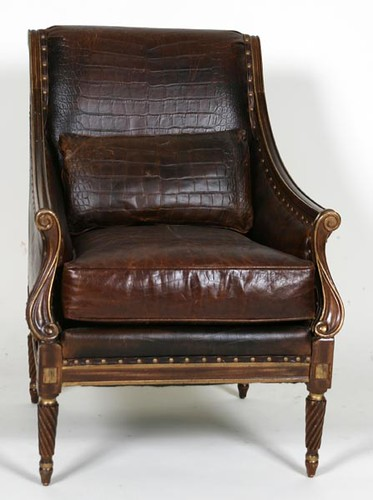 Wesley Hall Leather Chair with Ottoman ($560.00)