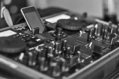 20130617_F0001: iPhone DJ equipment (wfxue) Tags: blackandwhite bw music dj ipod bokeh mixer equipment sound mixing dials iphone