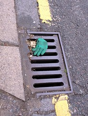 Trapped down the drain green glove Sutton Court Road Chiswick London England 17th June 2013 17-06-2013 12-08-08 (dennoir) Tags: