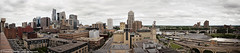 Minneapolis Skyline (veronica_barnes) Tags: city bridge urban panorama beautiful minnesota stone skyline river photography downtown arch skyscrapers angle cloudy 28mm wide minneapolis stanthony