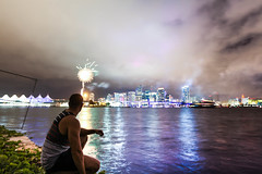 BEYOND THE SURFACE (Rober1000x) Tags: city reflection skyline self reflections downtown florida fireworks miami smoke july miamibeach 4thjuly selfie