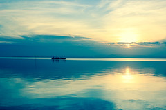 (MariaJC) Tags: light water evening boat peace air