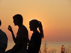 Sunset silhouette serenity (rkramer62) Tags: sunset sky kids peace lakemichigan ponytail waterbottle backlighting icecreamcone rkramer62 gottalovesilhouettes