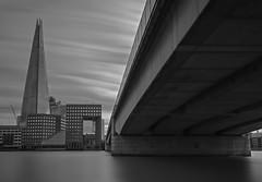 What's Under The Bridge (Jarrad.) Tags: longexposure bridge england london thames clouds river nikon exposure architectural shard d700
