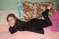 Resting pose (Berciquez) Tags: woman cute sexy feet girl beautiful beauty female pose foot toes pretty dress artistic bare longhair pillows nails barefoot barefeet resting soles ankles
