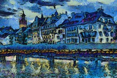 Medieval Europe (a digital dream in oil) (tj.blackwell) Tags: city summer urban holiday colour reflection tourism composite night digital photoshop buildings scarlet painting stars fun switzerland town artwork europe close shot swiss strokes vibrant central vincent magenta style brush canvas montage oil impressionism environment british casual leisure van gogh lucerne starry waterway generated bold algorithm