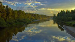 golden breeze (Sergey S Ponomarev) Tags: autumn light sunset summer sky nature water clouds forest canon reflections landscape golden russia outdoor ngc rivers polarizing 600d vyatka sergeyponomarev viatka