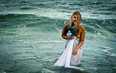 Uncovered. (JenO'K) Tags: ocean blue ireland sea woman white art nature girl beautiful beauty smile fashion canon hair nude fun creativity happy photography model glamour natural alt creative style laugh blonde imagination sheet laughter mermaid process tasteful 550d