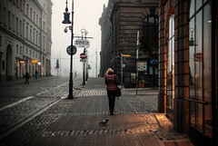 window shopping (ewitsoe) Tags: street city morning november autumn people woman mist cold fall fog 35mm buildings walking early haze nikon europe cityscape foggy poland polska shroud commuting chilly citycenter autumnal poznan passingby staryrynek nikond80 ewitsoe erikwitsoe vision:outdoor=0906 vision:street=0846 vision:car=0644 vision:sky=051