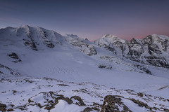Diavolezza Morning (PhiiiiiiiL) Tags: morning pink blue schnee sky panorama mountain snow berg stone night sunrise schweiz switzerland nikon glow swiss himmel berge hour gletscher stein morgen hitech pers bernina pontresina morteratsch graubnden diavolezza pizbernina glhen berninamassiv pal persgletscher d800e vision:sunset=0554 vision:mountain=0747 vision:outdoor=099 vision:sky=0945 vision:clouds=0852 vision:ocean=0566 vision:snow=0659