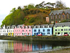 The Waterfront in Portree (Sandra Leidholdt) Tags: portree scotland waterfront isleofskye uk buildings harbour town village colourful towns harbor pierhotel shops stores gb greatbritain skye innerhebrides colorful architecture seacliffs cliff port porttowns sandraleidholdt scottish building unitedkingdom