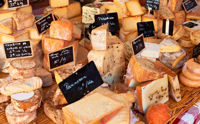 French cheese on a market in Provence