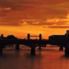 autumn, sunrise, london (auketts) Tags: autumn orange sun london thames towerbridge sunrise square squareformat londonbridges intothesun mywalktowork iphoneography instagramapp uploaded:by=instagram foursquare:venue=4ac518cef964a52022a620e3
